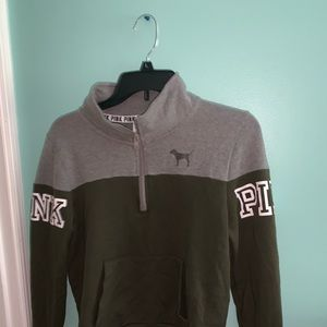 PINK GREEN HALL ZIP SWEATER